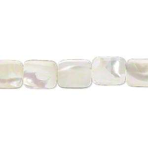 bead, mother-of-pearl shell (bleached), white, 10x8mm flat rectangle, mohs hardness 3-1/2. sold per 16-inch strand.