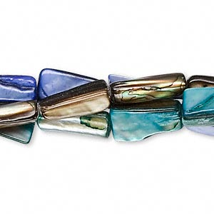 bead, mother-of-pearl shell (dyed), blue / turquoise blue / brown, 15x6mm-15x9mm rectangular tube, mohs hardness 3-1/2. sold per pkg of (3) 14-15 inch strands.