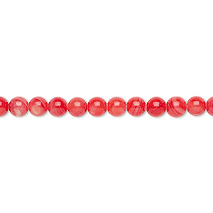 bead, mother-of-pearl shell (dyed), coral, 4mm round, mohs hardness 3-1/2. sold per 16-inch strand.