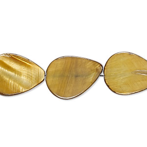 bead, mother-of-pearl shell (dyed), gold, 17x13mm-18x13mm flat teardrop, mohs hardness 3-1/2. sold per 15-inch strand.