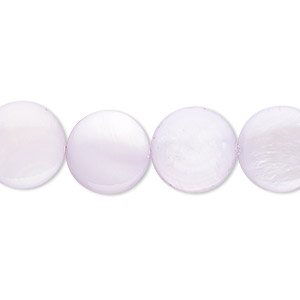 bead, mother-of-pearl shell (dyed), lavender, 12mm flat round. sold per 16-inch strand.