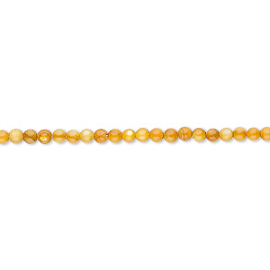 bead, mother-of-pearl shell (dyed), light amber, 2mm round. sold per 16-inch strand.