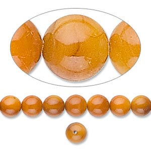 bead, mother-of-pearl shell (dyed), light amber yellow, 6mm round. sold per 16-inch strand.
