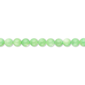 bead, mother-of-pearl shell (dyed), mint green, 4mm round. sold per 16-inch strand.
