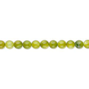 bead, mother-of-pearl shell (dyed), moss green, 4mm round. sold per 16-inch strand.