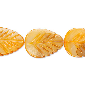 bead, mother-of-pearl shell (dyed), orange, 20x15mm carved leaf, mohs hardness 3-1/2. sold per 15-inch strand.