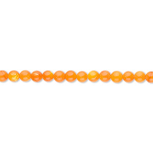 bead, mother-of-pearl shell (dyed), orange, 3mm round. sold per 16-inch strand.