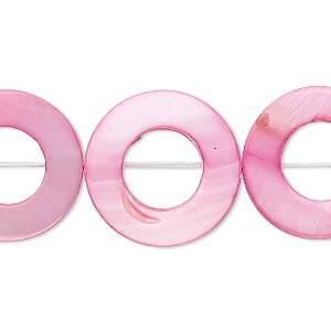 bead, mother-of-pearl shell (dyed), pink, 20mm round donut, mohs hardness 3-1/2. sold per 16-inch strand.