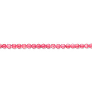 bead, mother-of-pearl shell (dyed), pink, 2mm round, mohs hardness 3-1/2. sold per 16-inch strand.