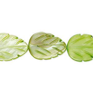 bead, mother-of-pearl shell (dyed), spring green, 18x13mm carved leaf, mohs hardness 3-1/2. sold per 15-inch strand.
