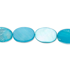 bead, mother-of-pearl shell (dyed), turquoise blue, 14x10mm flat oval. sold per 16-inch strand.