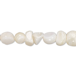 bead, mother-of-pearl shell (natural / bleached), white, medium chip / small to large pebble / mini to small nugget, mohs hardness 3-1/2. sold per 15-inch strand.
