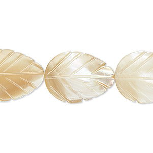 bead, mother-of-pearl shell (natural), 20x15mm leaf with 0.7-0.8mm hole, mohs hardness 3-1/2. sold per 16-inch strand.