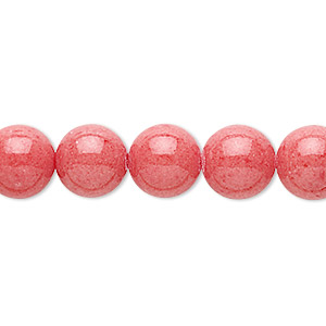 bead, mountain jade (dyed), coral red, 10mm round, b grade, mohs hardness 3. sold per 16-inch strand.