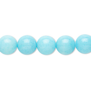 bead, mountain jade (dyed), opaque light blue, 10mm round, b grade, mohs hardness 3. sold per 16-inch strand.