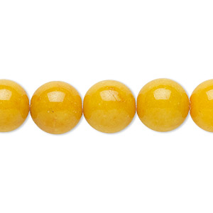 bead, mountain jade (dyed), opaque yellow, 12mm round, b grade, mohs hardness 3. sold per 16-inch strand.