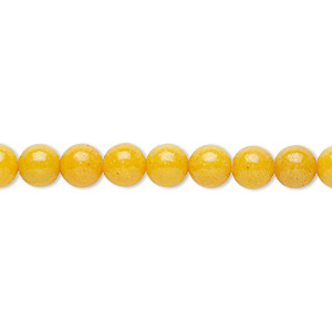 bead, mountain jade (dyed), opaque yellow, 6mm round, b grade, mohs hardness 3. sold per 16-inch strand.