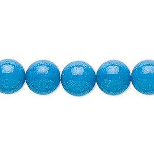 bead, mountain jade (dyed), turquoise blue, 10mm round, b grade, mohs hardness 3. sold per 16-inch strand.