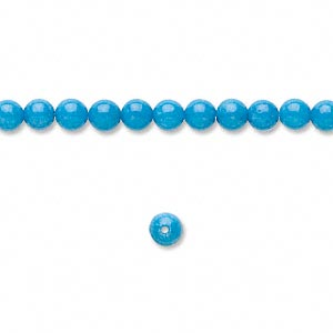 bead, mountain jade (dyed), turquoise blue, 4mm round, b grade, mohs hardness 3. sold per pkg of (3) 16-inch strands.