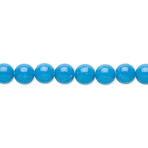 bead, mountain jade (dyed), turquoise blue, 6mm round, b grade, mohs hardness 3. sold per 16-inch strand.