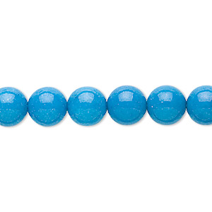 bead, mountain jade (dyed), turquoise blue, 8mm round, b grade, mohs hardness 3. sold per 16-inch strand.