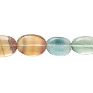 bead, multi-fluorite (natural), 11x9mm-17x10mm hand-cut puffed oval, b- grade, mohs hardness 4. sold per 14-inch strand.