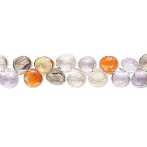 bead, multi-gemstone (natural / dyed / heated / irradiated), 5-6mm hand-cut top-drilled faceted puffed teardrop, b grade, mohs hardness 3 to 7. sold per 7-inch strand.