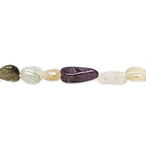 bead, multi-gemstone (natural / dyed / heated / irradiated), multicolored, small to large hand-cut pebble, mohs hardness 3 to 7. sold per 14-inch strand.