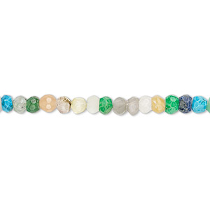 bead, multi-gemstone (natural / dyed / heated), multicolored, 3x2mm-4x3mm hand-cut faceted rondelle, c grade, mohs hardness 3 to7. sold per 12-inch strand.