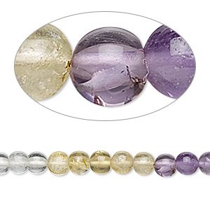 bead, multi-gemstone (natural / dyed / heated), multicolored, 4-5mm hand-cut round, b- grade, mohs hardness 3 to 7. sold per 14-inch strand.