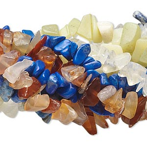 bead, multi-gemstone (natural / dyed / man-made), assorted colors, mini to extra-large chip. sold per pkg of (10) 35-inch strands.