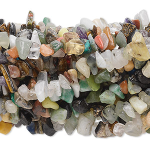 bead, multi-gemstone (natural / dyed / man-made), multicolored, medium chip with 0.5-1.5mm hole. sold per pkg of (10) 34-inch strands.