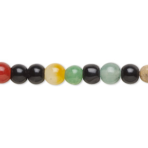 bead, multi-gemstone (natural / dyed / stabilized / heated / manmade / imitation) and glass, multicolored, 5-7mm round, d grade. sold per 15-inch strand.