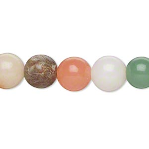 bead, multi-gemstone (natural / dyed) and glass, multicolored, 10-11mm round, c grade. sold per 15-inch strand.