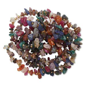 bead, multi-gemstone (natural / dyed) and glass, multicolored, small chip, mohs hardness 3 to 7. sold per 36-inch strand.