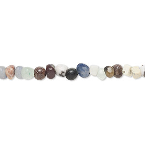 bead, multi-gemstone (natural / dyed), multicolored, small pebble. sold per 16-inch strand.