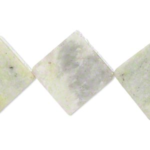 bead, multi-new jade (natural), 22x22mm-24x24mm flat diamond, d- grade, mohs hardness 2-1/2 to 6. sold per 15-inch strand. minimum 2 per order.
