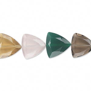bead, multi-quartz and green onyx (natural / heated / dyed / irradiated), 12x12x12mm hand-cut faceted triangle, b grade, mohs hardness 6-1/2 to 7. sold per pkg of 10.
