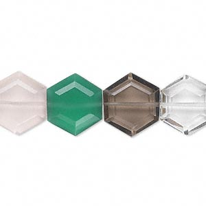 bead, multi-quartz and green onyx (natural / heated / dyed / irradiated), 13x12mm hand-cut faceted hexagon, b grade, mohs hardness 6-1/2 to 7. sold per pkg of 10.