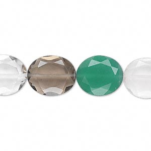 bead, multi-quartz and green onyx (natural / heated / dyed / irradiated), 14x12mm hand-cut faceted oval, b grade, mohs hardness 6-1/2 to 7. sold per pkg of 10.