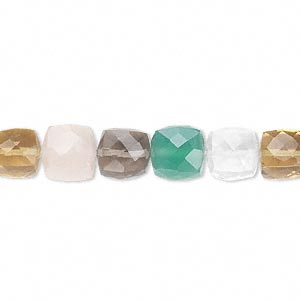bead, multi-quartz and green onyx (natural / heated / dyed / irradiated), 8x8mm hand-cut faceted cube, b grade, mohs hardness 6-1/2 to 7. sold per pkg of 10.