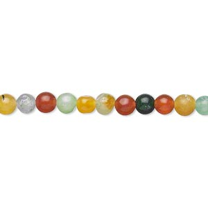 bead, multi-quartz (dyed), multicolored, 3-5mm round, c- grade, mohs hardness 7. sold per 15-inch strand.
