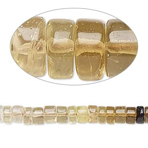 bead, multi-quartz (natural / heated / irradiated), shaded, 5x2mm-6x4mm hand-cut heishi, b- grade, mohs hardness 7. sold per 14-inch strand.