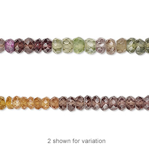 bead, multi-sapphire (heated), 3x2mm-4x3mm hand-cut faceted rondelle, b grade, mohs hardness 9. sold per 12-inch strand.