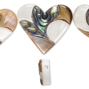 bead, multi-shell and resin (assembled), multicolored, 15x13mm / 24x21mm / 27x25mm graduated top-drilled single-sided heart. sold per 5-piece set.