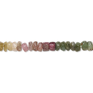 bead, multi-tourmaline (natural), 2x1mm-7x5mm hand-cut faceted rondelle, c- grade, mohs hardness 7 to 7-1/2. sold per 13-inch strand.
