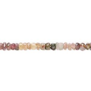 bead, multi-tourmaline (natural), 3x1mm-5x4mm hand-cut faceted rondelle, c- grade, mohs hardness 7 to 7-1/2. sold per 15-inch strand.