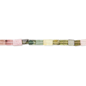 bead, multi-tourmaline (natural), 4x3mm hand-cut rectangle, c grade, mohs hardness 7 to 7-1/2. sold per 16-inch strand.