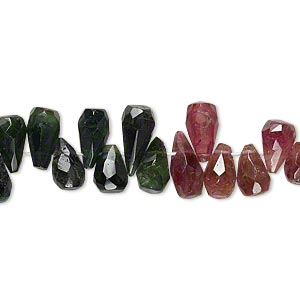 bead, multi-tourmaline (natural), 6x5mm-11x5mm hand-cut top-drilled faceted teardrop, b grade, mohs hardness 7 to 7-1/2. sold per 14-inch strand.