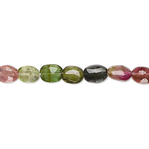 bead, multi-tourmaline (natural), 7x5mm hand-cut faceted flat oval, b- grade, mohs hardness 7 to 7-1/2. sold per 16-inch strand.